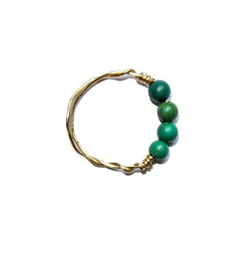 Ring Four Green Beads