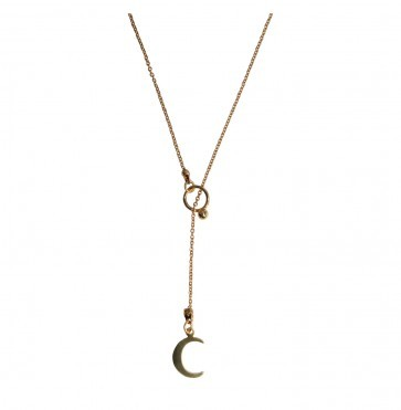 Necklace Y pendant moon gold