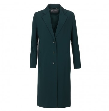 Long Coat Shiny Twill Emerald Green