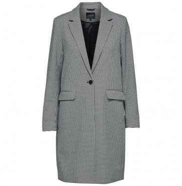 Long Blazer Holla Black White Houndstooth