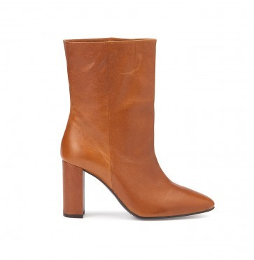 Heeled Boots Cognac Leather