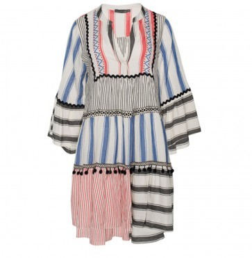 Short Dress With Stripes Red Blue