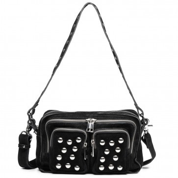 Shoulderbag Ellie Suede Black with Studs