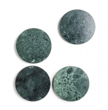 Green marble coasters 4pcs