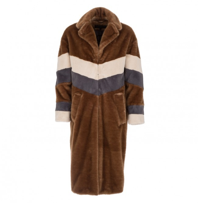 Teddy Jas Lang.Coat Teddy Faux Fur Stripes Brown Grey 60 Sale