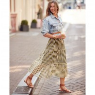 Skirt Jeovanna Yellow Black Check