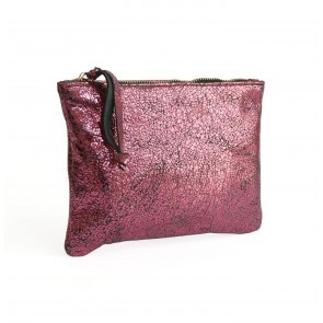 Rectangular Pochette Laminated Fuchsia
