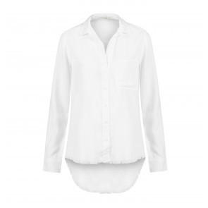 Shirt Tail Button Down Frayed Hem White