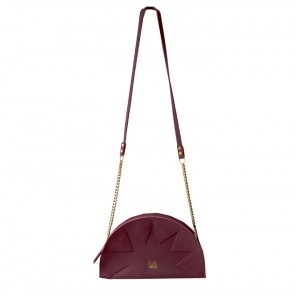 Zig Zag Purse Demi Circle Burgundy