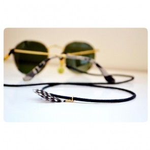 Sunglass Strap Skinny-U Black Suede with Feather
