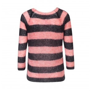 Knit Sweater Elena Pink Antracite Stripes