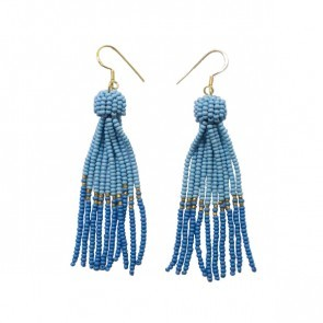 Tassel Earrings Light Blue Navy