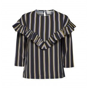 Flounce Top Eda Black Stripes