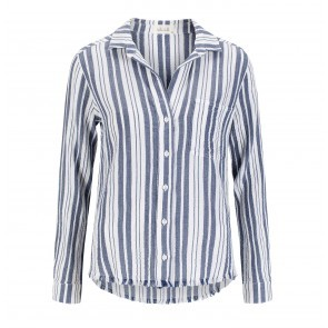 Shirt Frey Hem Tail Button Down Sailor Blue