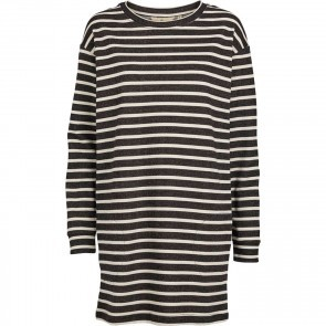 Dress Ria Black Off White Stripes