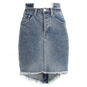 Denim Skirts High Waist Blue Society