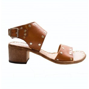 Heeled Studded Sandal Brown
