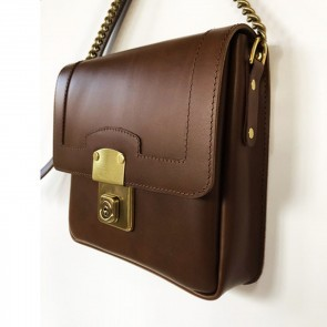 Big Lock Leather Bag Brown
