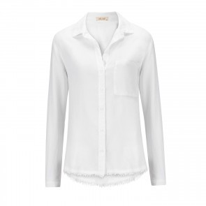 Shirt Frayed Seam Back White