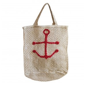 Beach Bag Jute Anchor Natural