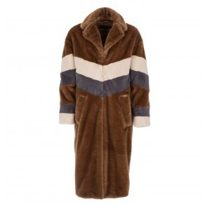 Coat Teddy Faux Fur Stripes Brown Grey