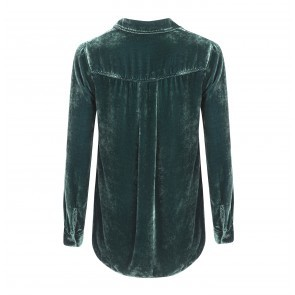 Blouse Button Down Velvet Dark Green