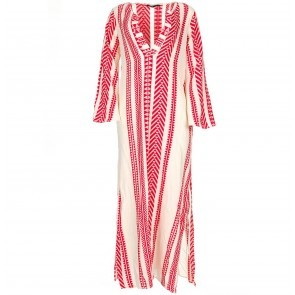 Long Dress With Embroidery Red