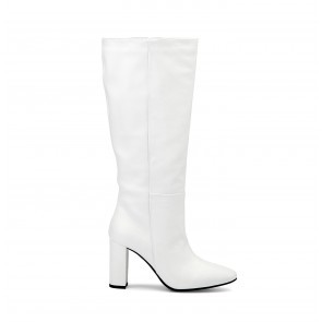 Heeled Boots White Leather