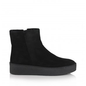 Platform Boots Furry Black