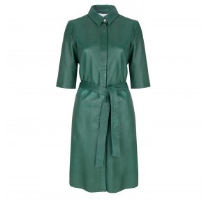 Leather Dress Emmit Beetle Green