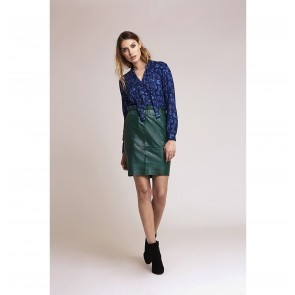 Leather Skirt Staci Beetle Green