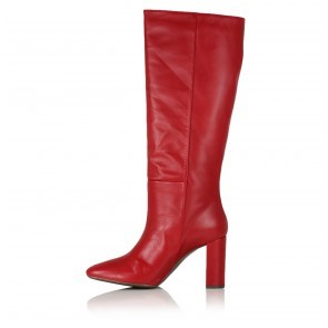 Heeled Knee Boots Red Leather