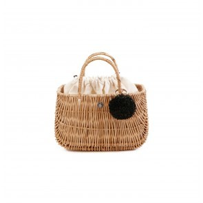 Ladybag Wicker Basket no.1 (S) Cream White Pompon