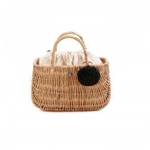 Ladybag Wicker Basket No.1 (M) Ice Coffe Beige Pompon