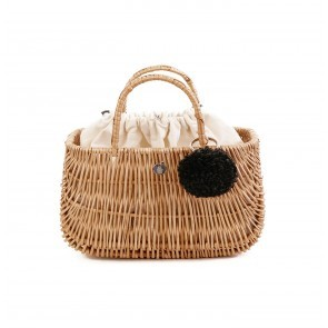 Ladybag Wicker Basket no.1 (L) Grey Pompon