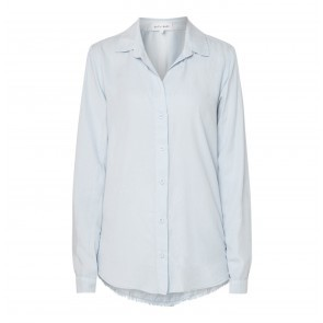 Blouse Frayed Hem Button Down Sky Way