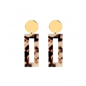 Earrings Zara Resin Brown White