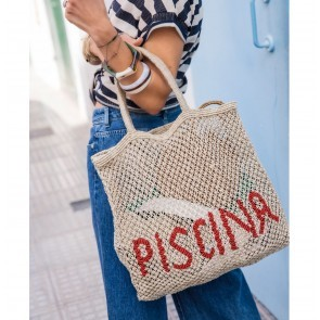Beach Bag Jute Piscina Red