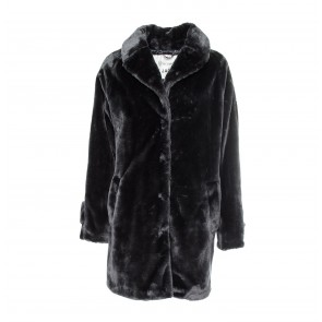 Midi Coat Soft Fake Fur Ash Blue