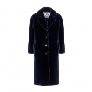 Long Coat Soft Fake Fur Royal Navy