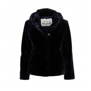 Short Coat Soft Fake Fur Royal Navy