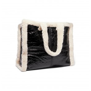 Shearling Bag Lola Patent Black/Off White