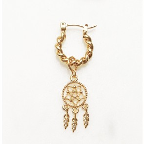 Earring Twisted Hoop Dream Catcher Gold