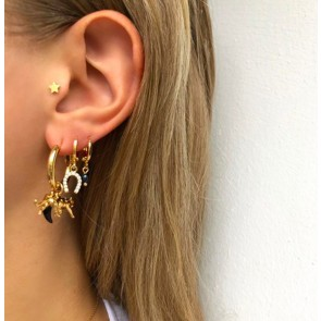 Earring Hoop Black Leopard Gold
