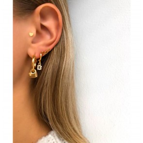 Earring Hoop 3D Heart Gold