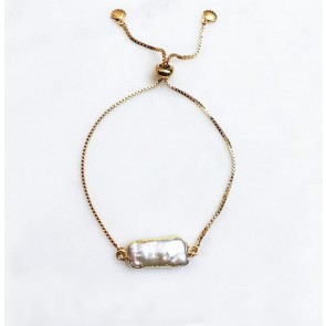 Adjustable Bracelet Pearl Bar Gold