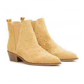 London Boot Suede Studs Sand