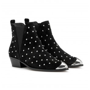 London Boot Suede Studs Black