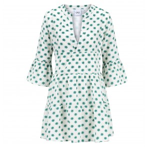 Dress Starglory Green Flower Jaquard
