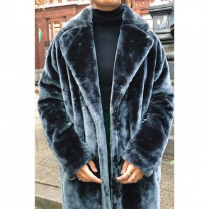 Long Coat Soft Fake Fur Ash Blue